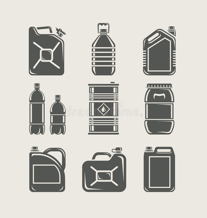 Plastic and metallic can set icon stock illustration