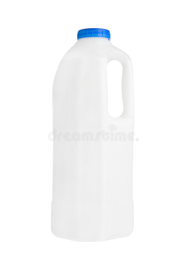 Plastic milk gallon container isolated on white royalty free stock photo