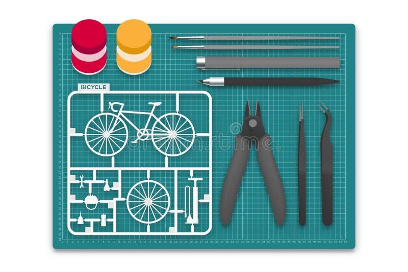 Plastic model met hulpmiddeluitrusting op scherpe mat, de illustratie van het fietsconceptontwerp vector illustratie