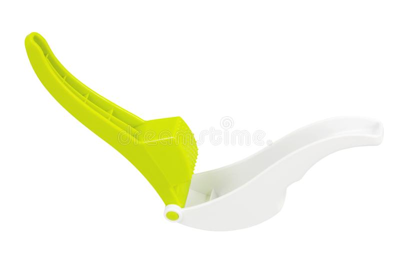 Plastic Modern Press for Garlic. Plastic Modern Press for Garlic on a white background stock photo