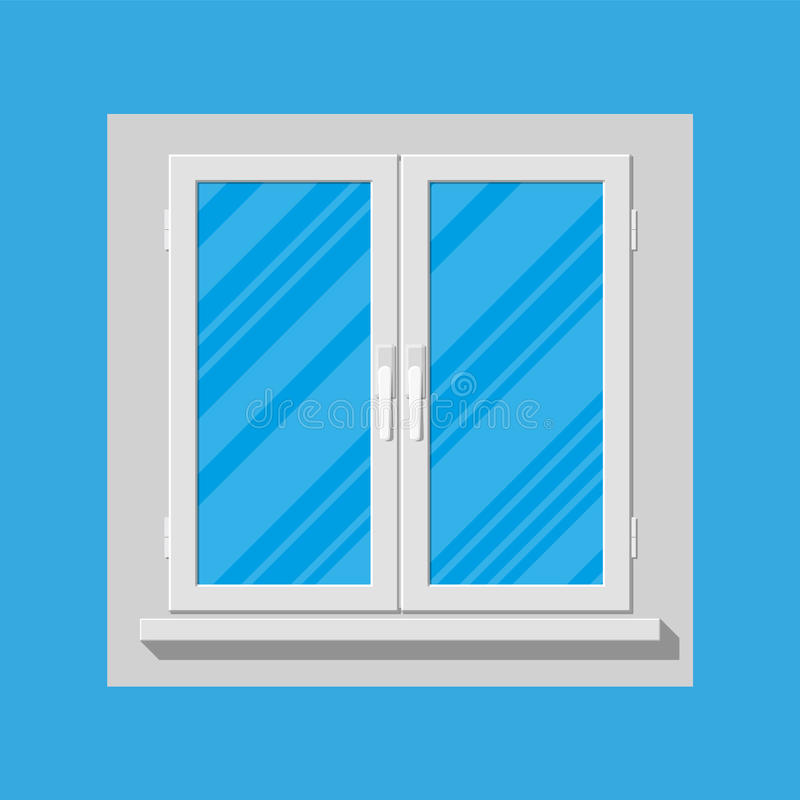 Plastic modern window. Vector illustration in flat style royalty free illustration