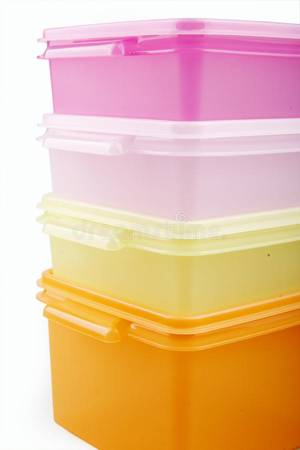 Plastic opslagdozen royalty-vrije stock afbeelding
