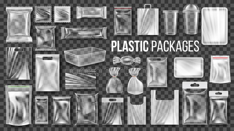 Plastic Packages Transparent Wrap Set Vector. Empty Food Product Polyethylene Package Mock Up Template. Realistic Nylon stock illustration