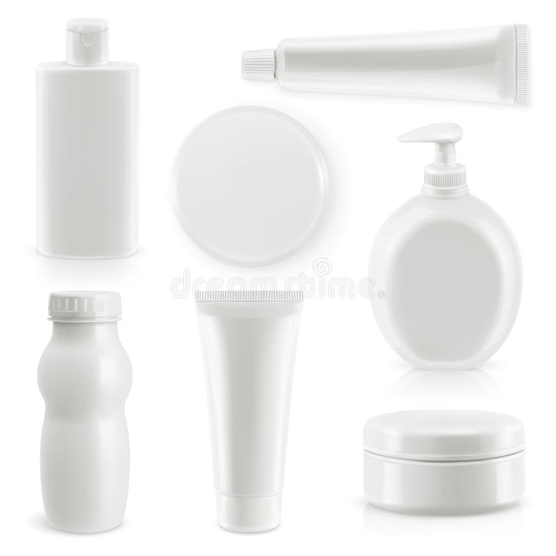 Plastic packaging, cosmetics and hygiene. Vector objects set royalty free illustration