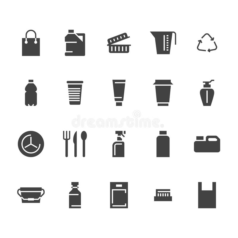Plastic packaging, disposable tableware flat glyph icons. Product packs, container, bottle, canister, plates cutlery. Container signs, waste recycling. Solid vector illustration