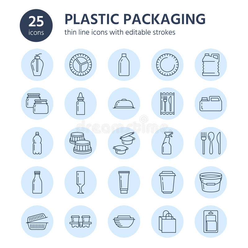 Plastic packaging, disposable tableware line icons. Product container, bottle, packet, canister, plate and cutlery royalty free illustration