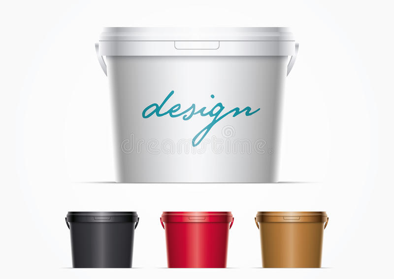 Plastic Paint Bucket. Vector plastic bucket illustration. Ideal for your mock up. Elements are layered separately in file. Color lids are just two global colors royalty free illustration