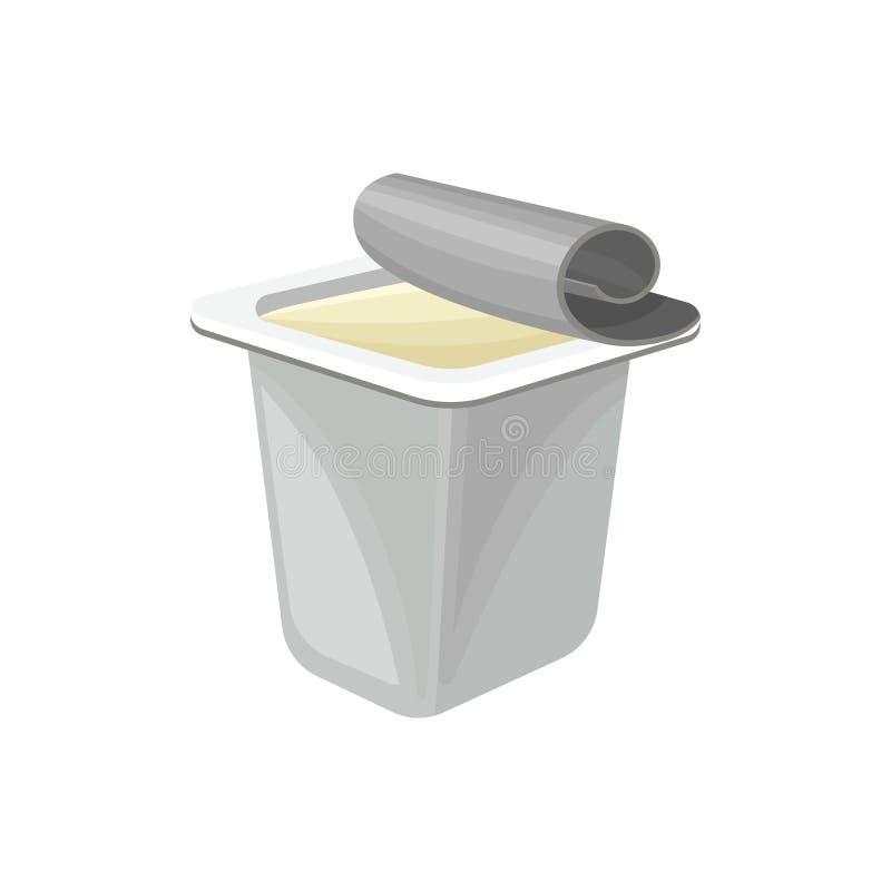 Plastic pakket van yoghurt, gezonde verse zuivelproduct vectorillustratie op een witte achtergrond vector illustratie