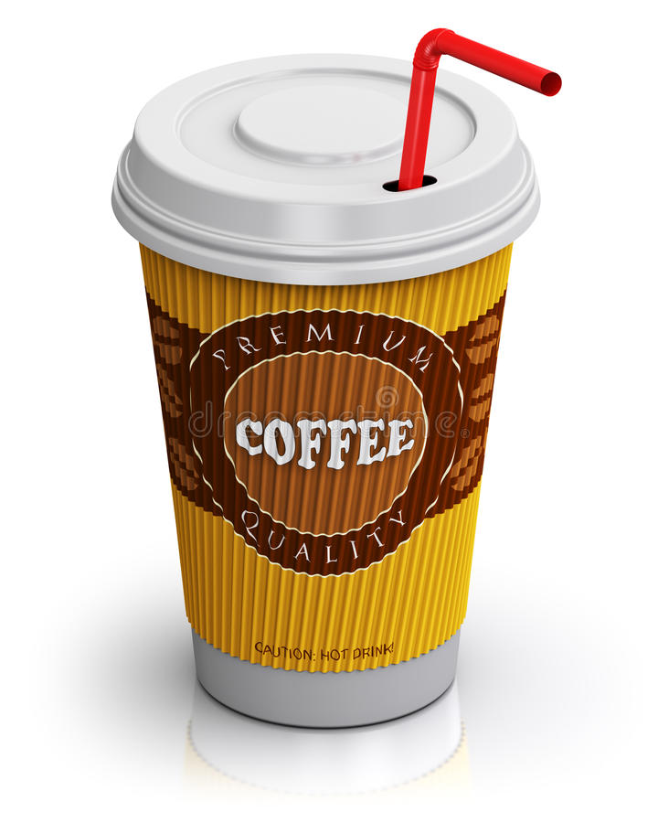 Plastic or paper coffee cup with straw. Creative abstract 3D render illustration of plastic or cardboard paper coffee to go or take away drink cup or mug with royalty free illustration