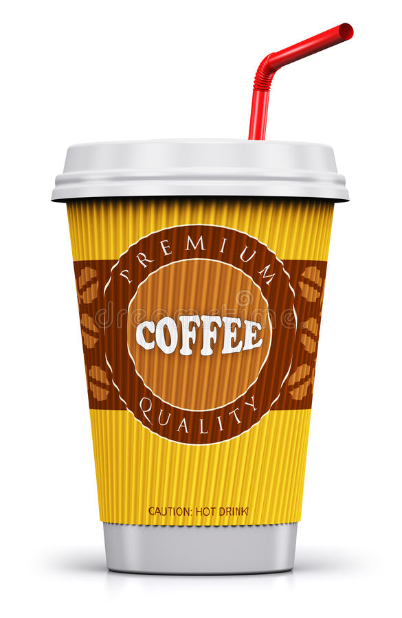 Plastic or paper coffee cup with straw. Creative abstract 3D render illustration of plastic or cardboard paper coffee to go or take away drink cup or mug with vector illustration