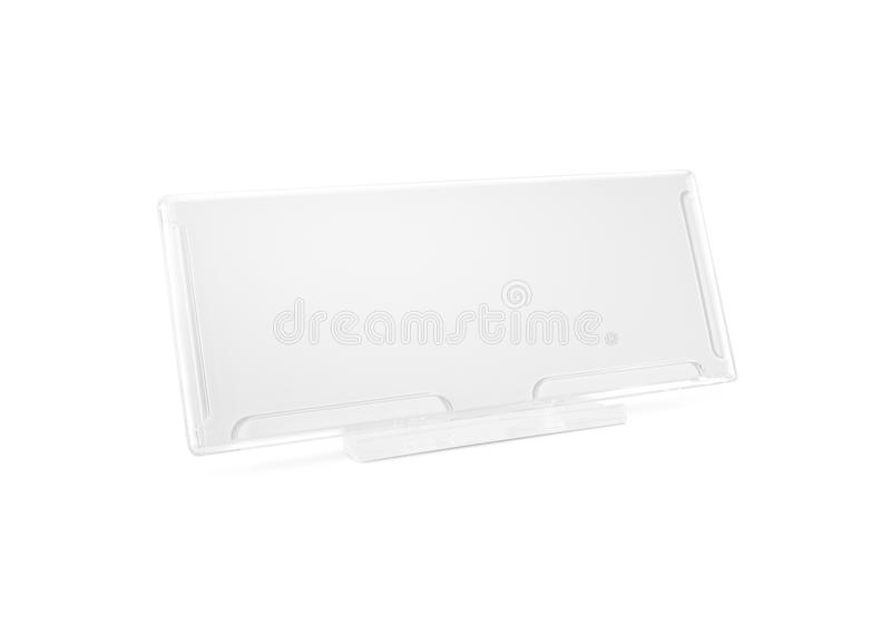Plastic paper holder mock up stand on desk isolated. Nameplate g stock photo