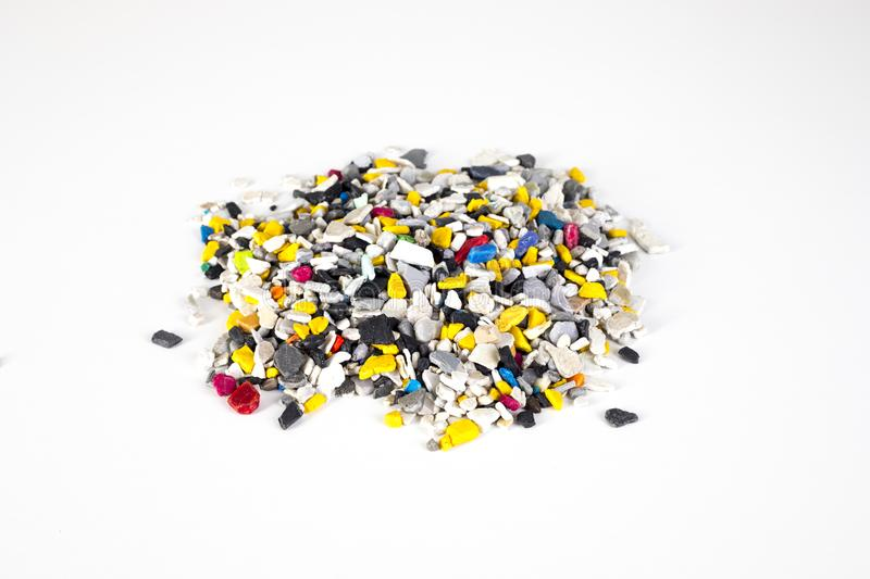 Plastic pellets .Multicolored Plastic granules. Plastic raw materials in granules industry. royalty free stock photo