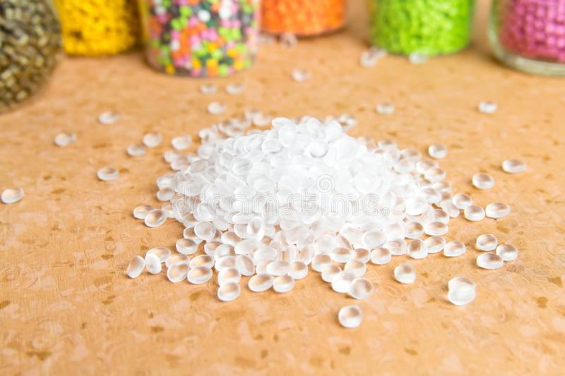 Plastic pellets. Polyethylene granules. Plastic Raw material  PE-HD. PE-LD  polymer. BPA FREE. Agent, background, black, chemical, chemistry, extrusion royalty free stock images
