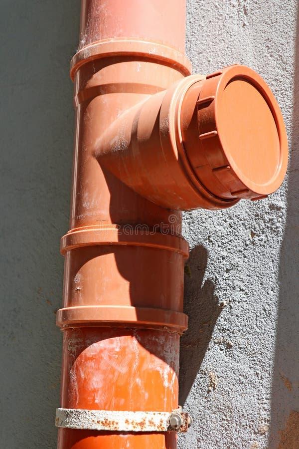 Plastic pijpleiding van de riolering stock afbeelding