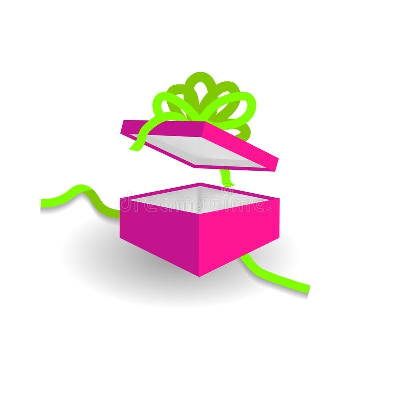 Plastic pink gift box with UFO green bow isolated stock illustration
