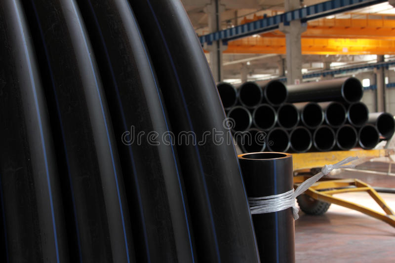 Plastic pipe. Inside, futuristic view, perspective, light royalty free stock image