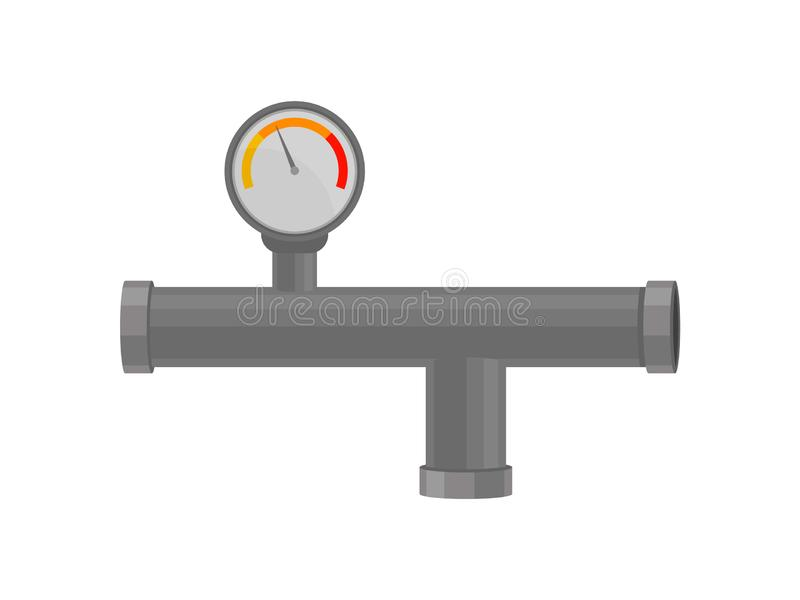 Plastic pipe with pressure sensor. Drainage and piping. Plumbing concept. Modern water supply system. Vector flat illustration vector illustration