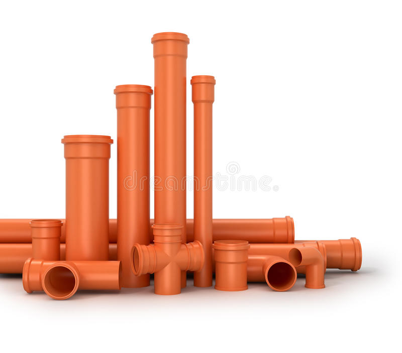 Plastic pipe on white background. Water pipes. 3d illustration royalty free illustration