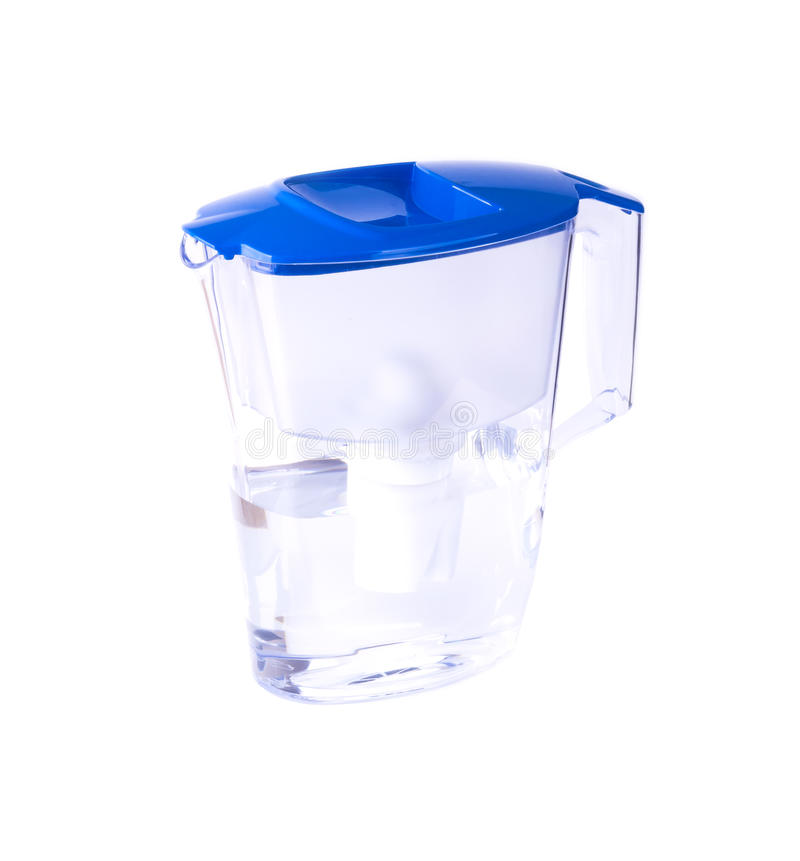 Plastic pitcher filter with blue cap isolated stock images