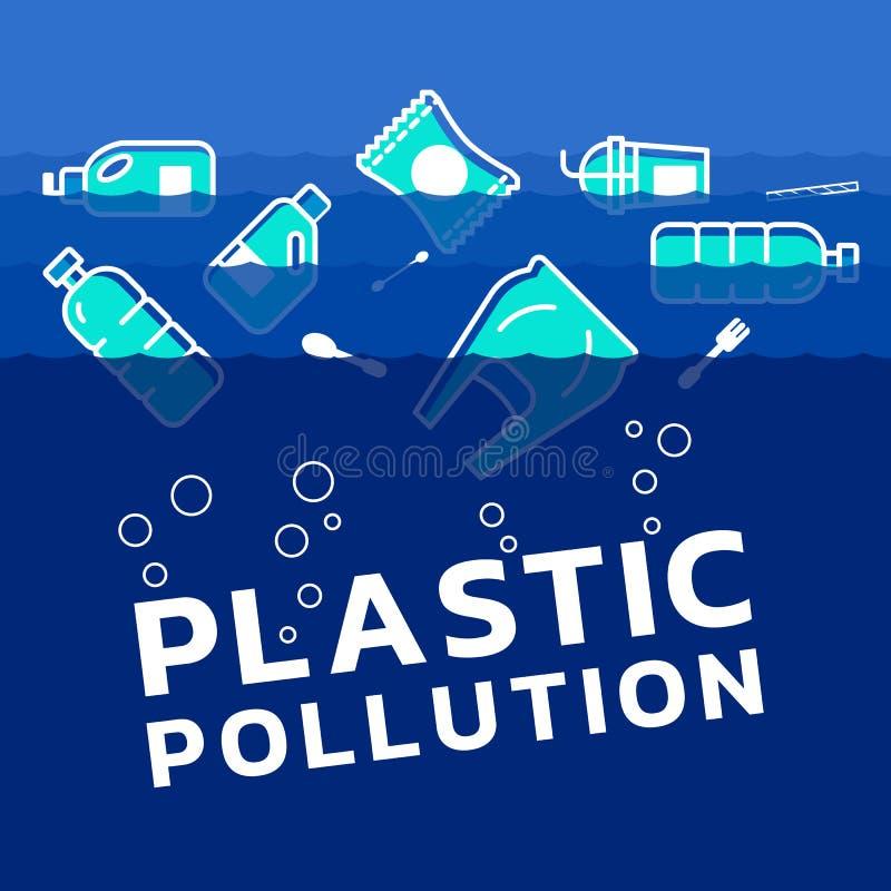 Plastic pollution concept with plastics icon in water ocean vector design stock illustration