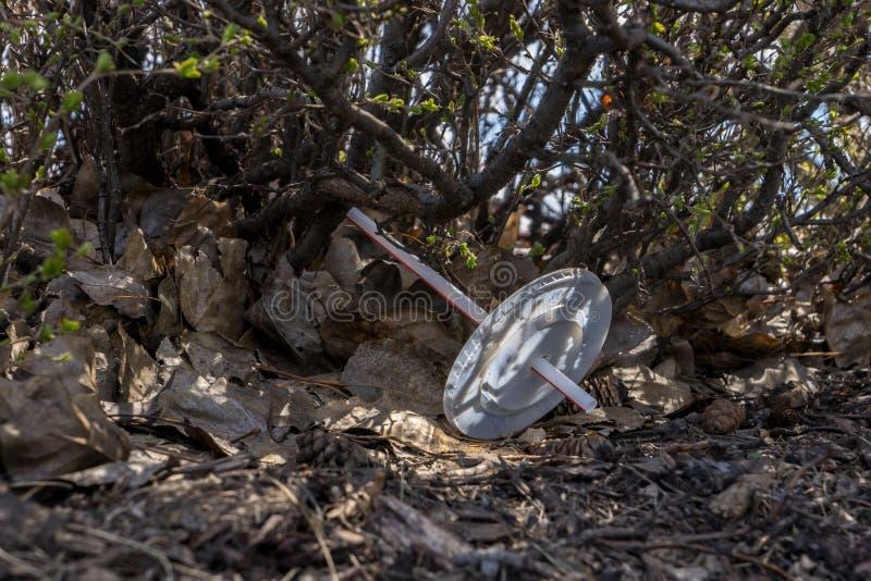 Plastic pollution. Edmonton, Canada, May 8, 2019: Plastic pollution by plastic straw and plastic lid near fast food McDonald`s restaurant stock photos