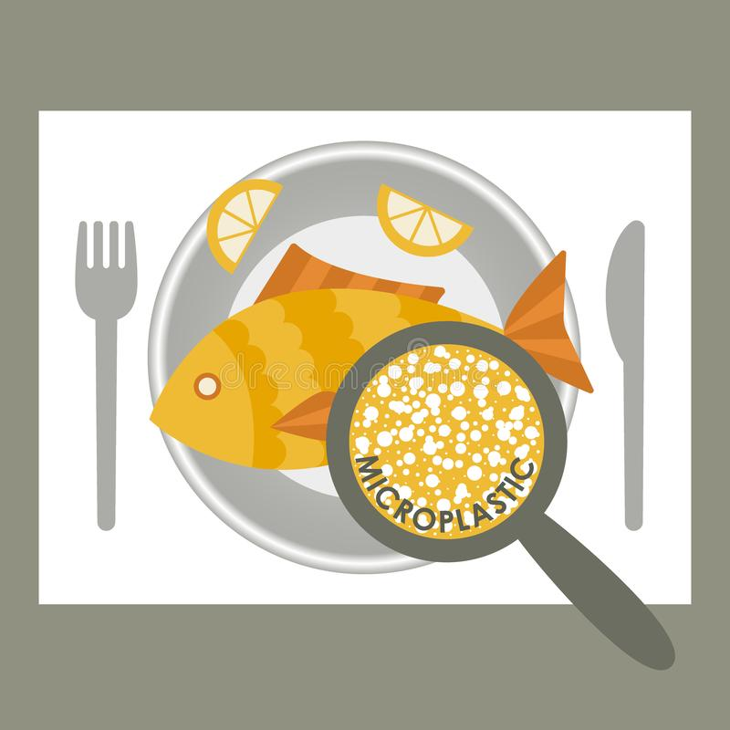 Plastic pollution, microplastic problem. Microplastic in the food. Ecological poster. Fried fish with micro plastic pieces on a. Plate. Vector fish dish top royalty free illustration