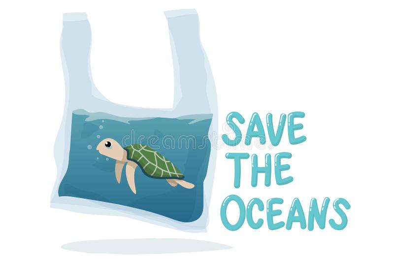 Plastic pollution in ocean environmental problem concept.  poor turtle swim inside plastic bag with text save the oceans. vector illustration