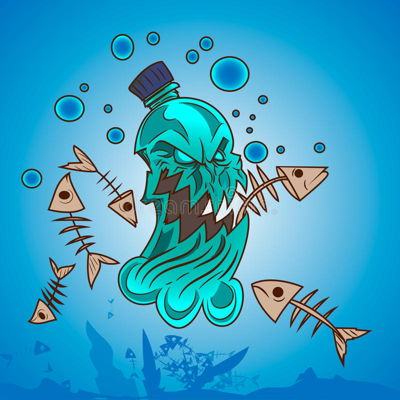 Plastic pollution in ocean royalty free illustration