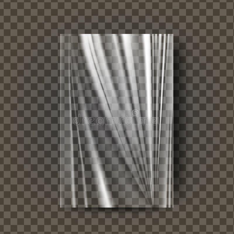 Plastic Polyethylene Vector. Transparent Cellophane Glossy Wrap. Empty Sack Product Canvas Mock Up Template. Nylon. Plastic Polyethylene Vector. Transparent vector illustration
