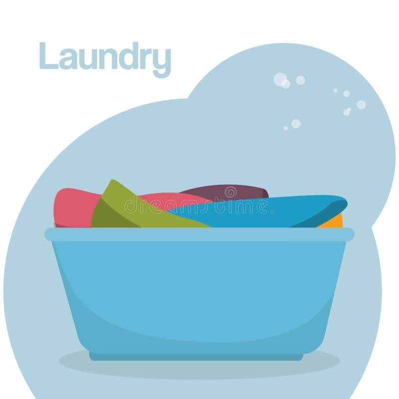 Plastic pot laundry service vector illustration