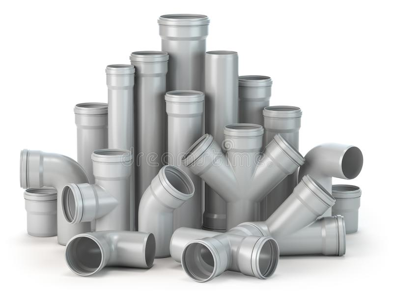 Plastic pvc pipes isolated on the white background royalty free illustration