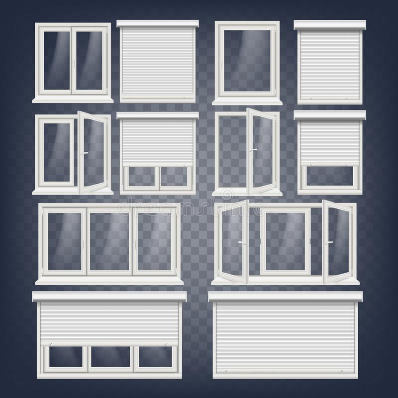 Plastic PVC Windows Set Vector. Different Types. Roller Blind ...