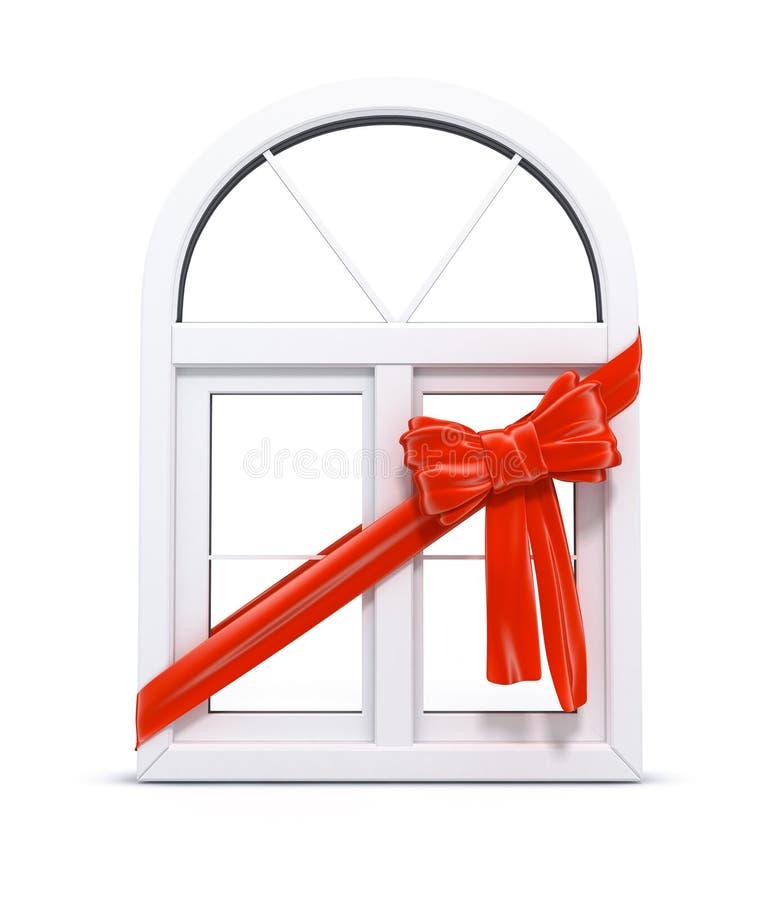 plastic rött bandfönster för gåva stock illustrationer