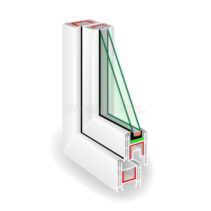 Plastic Raamkozijnprofiel Transparant Glas twee Vector illustratie royalty-vrije illustratie