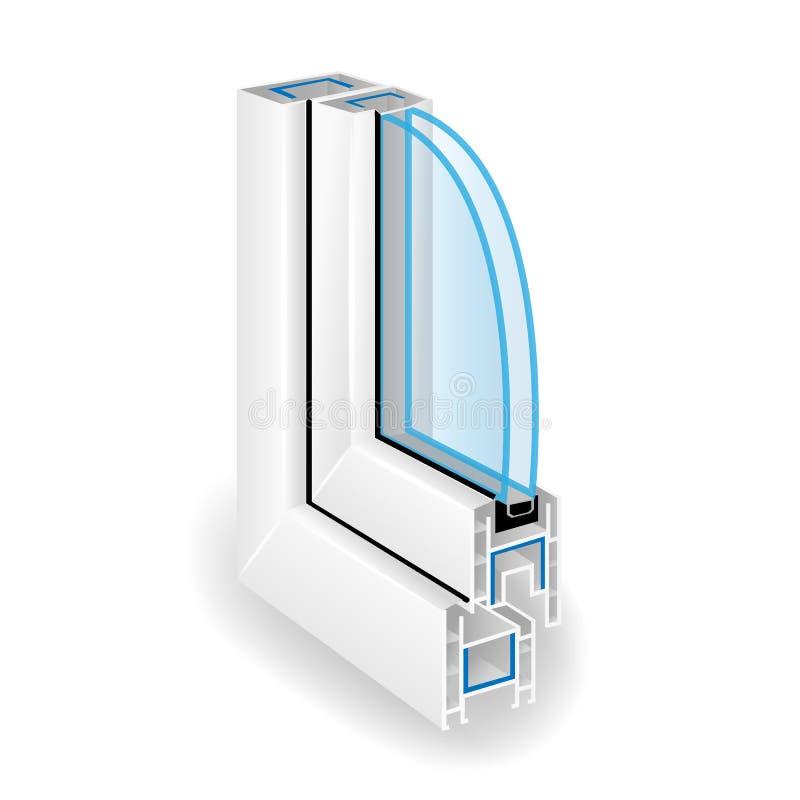 Plastic Raamkozijnprofiel Transparant Glas twee Vectorillustratie van Structuur royalty-vrije illustratie