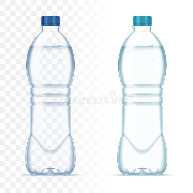 Plastic realistic vector bottles with water and blue cap on transparent background. Realistic bottle mockup. Plastic realistic vector bottles with water and stock illustration