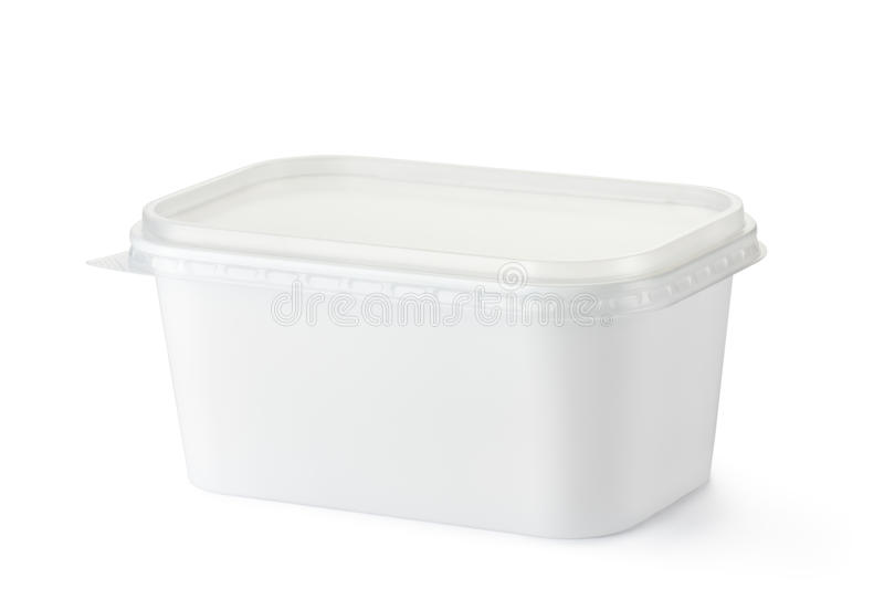 Plastic rectangular container for dairy foods royalty free stock photos