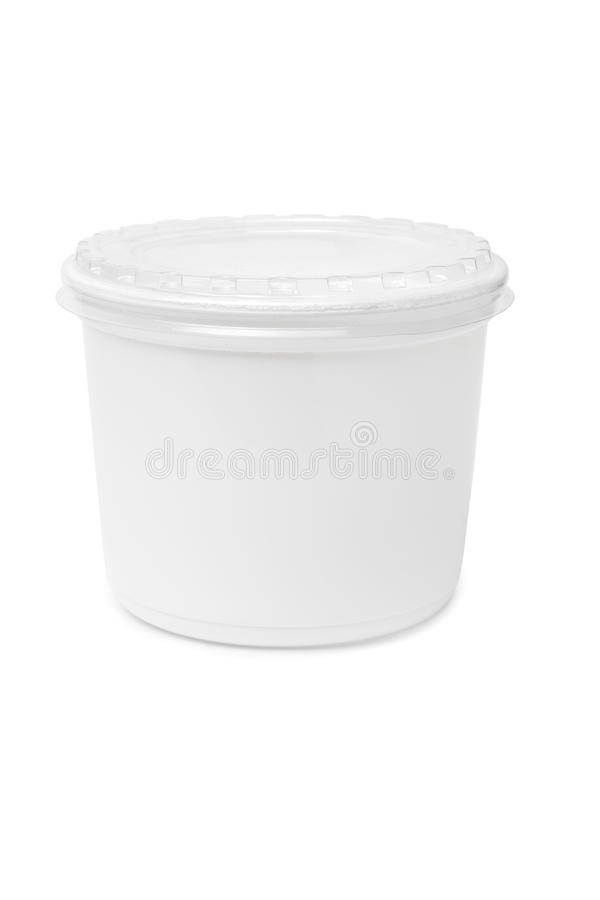 Plastic rectangular container for dairy foods stock photos