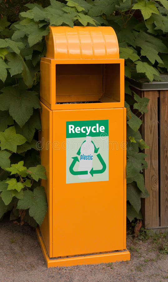 Download Plastic recycling bin stock photo. Image of leafy, notice - 15777522