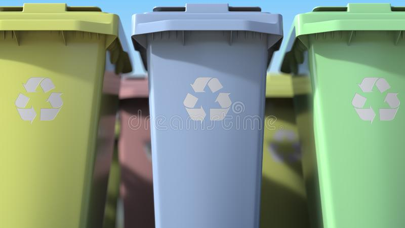 Plastic recycling bins with for sorting domestic garbage, close-up. 3d rendering stock illustration
