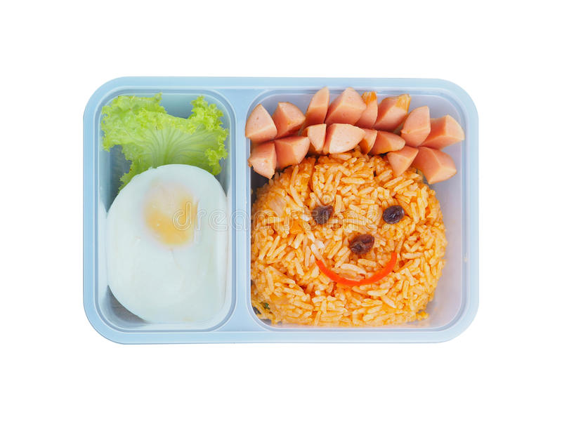 Plastic school lunch box for kids with funny face of fried rice royalty free stock images
