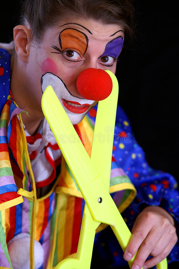 Download Plastic scissors and clown stock image. Image of hand - 6271853