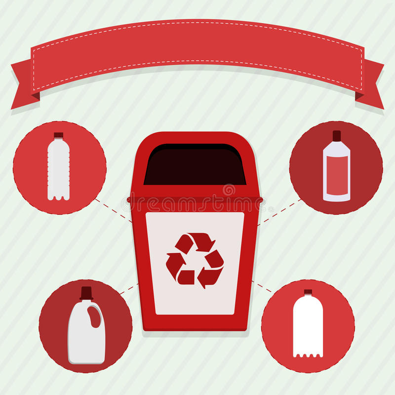 Plastic selective collection. Red trash for the selective collection of plastic royalty free illustration