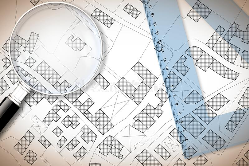 Plastic set square and magnifying glass over an imaginary cadastral map of territory with buildings, fields and roads - 3D render royalty free stock photos