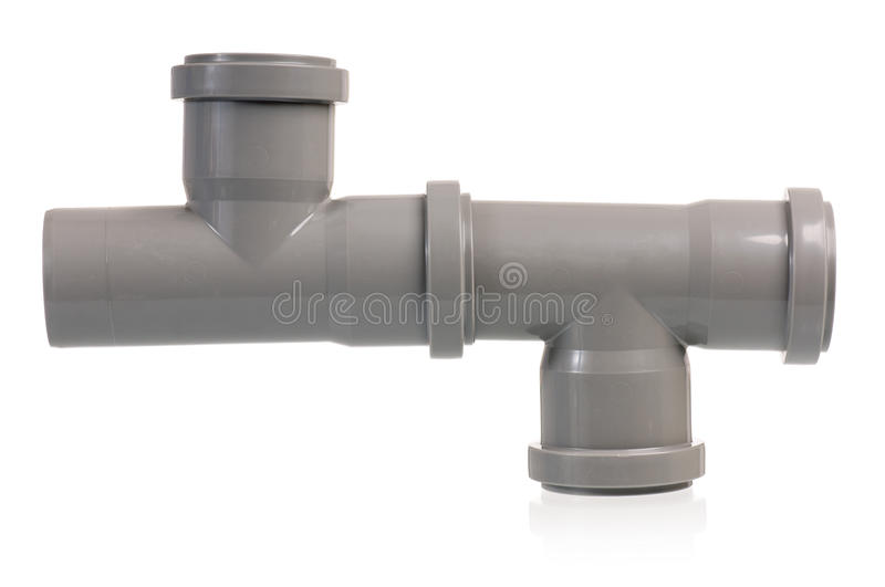 Plastic sewer pipe. Isolated on a white background stock images