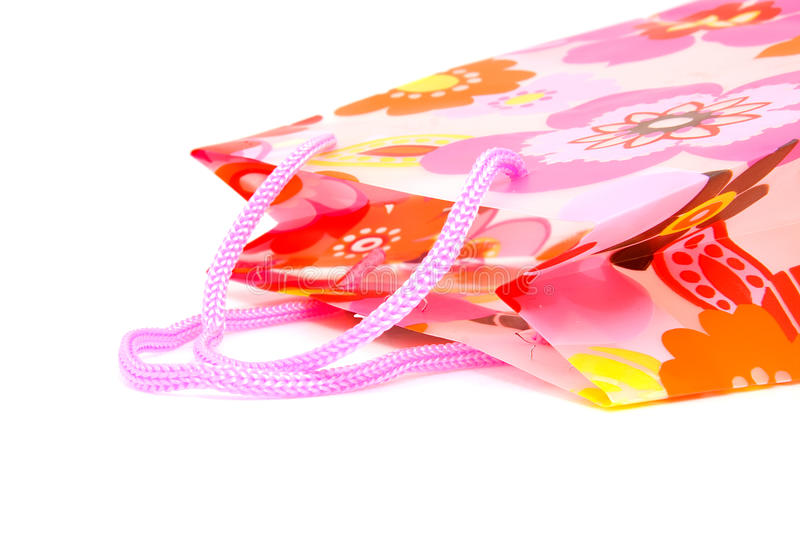 Plastic Shopping Bag With Floral Motif Stock Photos