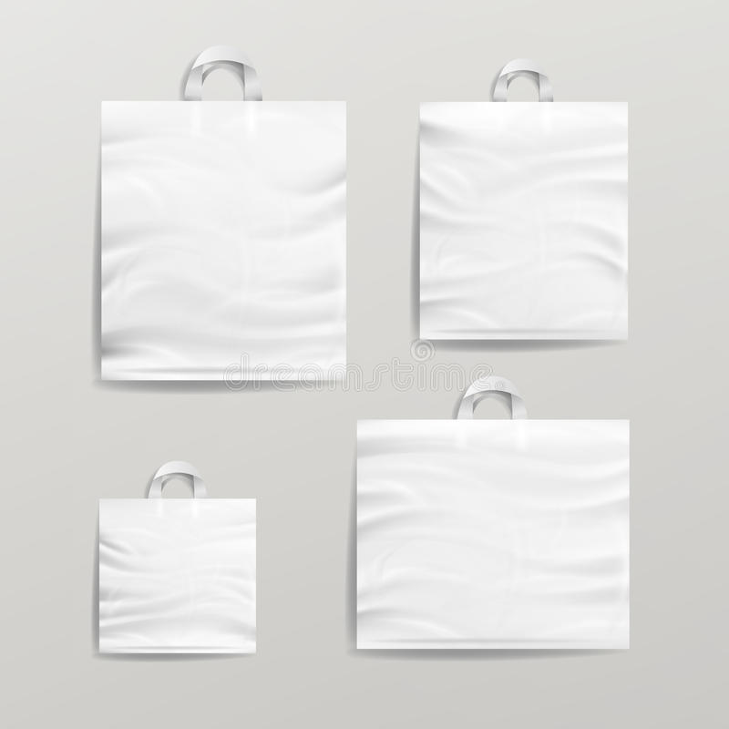 Plastic Shopping Bags Set Vector. White Empty Mock Up. Good For Package Design. royalty free illustration