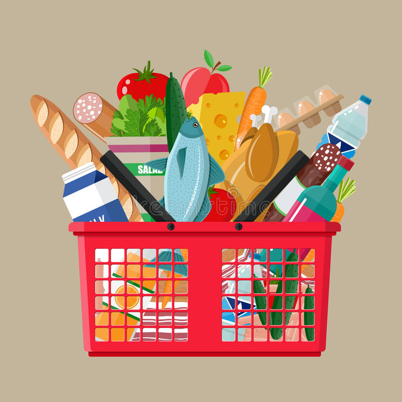 Plastic shopping basket full of groceries products stock illustration