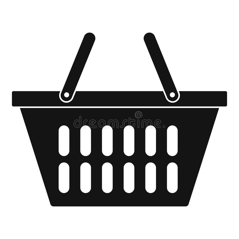 Plastic shopping basket icon, simple style vector illustration