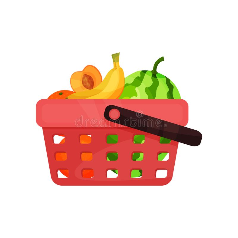 Plastic shopping basket with sweet fruits. Fresh oranges, bananas, watermelon and half of apricot. Flat vector icon royalty free illustration